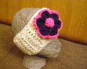 Cream crocheted headband/ear warmer with pink and purple flower