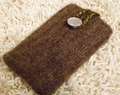 iPhone/iPod/iTouch/cell phone felted wool sweater knit sleeve/case/cover in brown with button closure