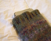 iPhone/iPod/iTouch/cell phone felted wool green/brown sleeve/case/cover