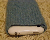 iPhone/iPod/iTouch/cell phone felted wool cable knit sleeve/case/cover in soft blue
