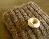 iPhone/iPod/iTouch/cell phone felted wool sweater knit sleeve/case/cover in brown with wood button