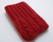 iPhone iPod iTouch cell phone felted sweater sleeve/case cable knit in red