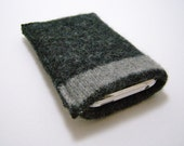 iPhone iPod cell phone felted wool sweater knit sleeve/case/cover in charcoal grey with stripe