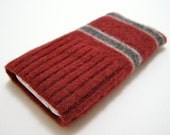 iPhone iPod iTouch cell phone felted sweater sleeve/case cable knit in red grey striped
