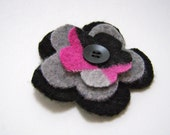 Pink black plaid flower brooch felted wool with pin closure and button