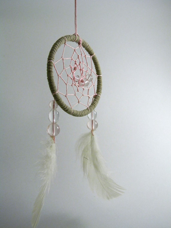 Pink and White Hemp and Suede Dreamcatcher