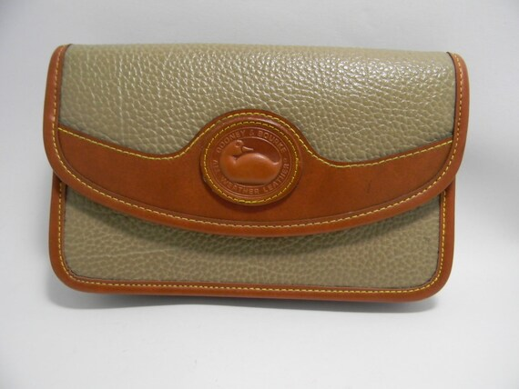 Vintage Faux Dooney and Bourke All Weather Leather Handbag Wallet / Clutch with Long Strap