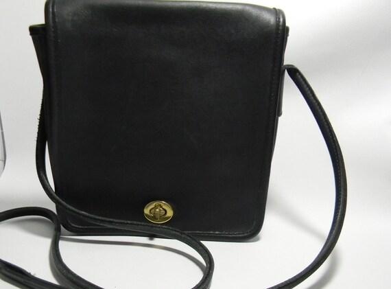 Fashionable Authentic Vintage Black Coach Long Strap / Small Shoulder Bag / Purse - New Lower Price