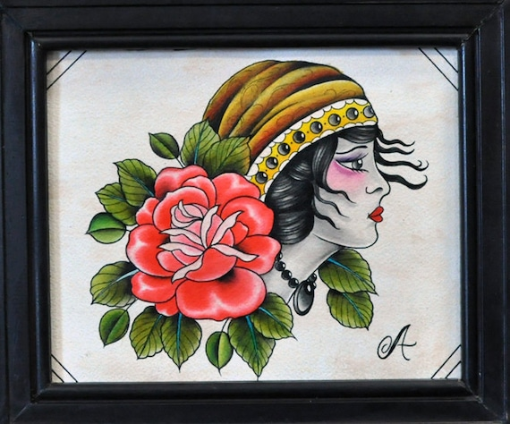 Vintage traditional tattoo gypsy girl and rose  hand painted flashVintage Gypsy Tattoo