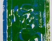 Postcard: Blue and Green Stencil, Art Relief International