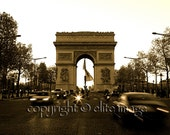 ARC de TRIOMPHE on the Champs Elysees at Night in Paris France - 8x10