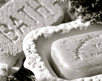 SET (3): Bathroom Faucet Hot and Cold Water Handles with Soap Dish & Pumice Stone in an Antique Feel, 3 - 8x10 Photograph Print (S2P)