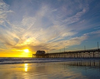 NEWPORT BEACH Sunset with the Golden California Sun Light on the Waves near the Pier in a HDR Vibrant Border - 8x10 Photograph Print