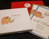 Primary Elephant Art Birthday Invitations and Thank You Notes: Set of 25 each