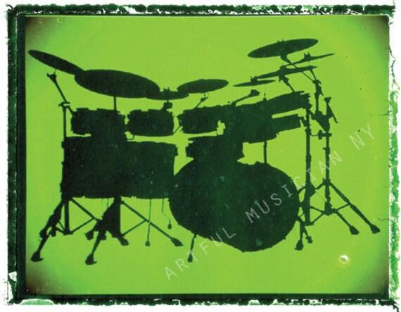 Drum Set Wall Decor : Green drum drummer art music wall decor by guitarartprint