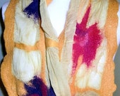 Sunny yellow nuno felted long scarf with exotic flowers - under 50 fashion gift