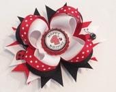 RESERVED for Nicole Kelly Ladybug Birthday Hair Bow with White Headband