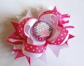 Pink Zebra Birthday Hair Bow