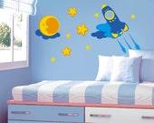 Rocket , Rocketship Outer Space Kids Vinyl Wall Decal Sticker for  Children Baby Nursery
