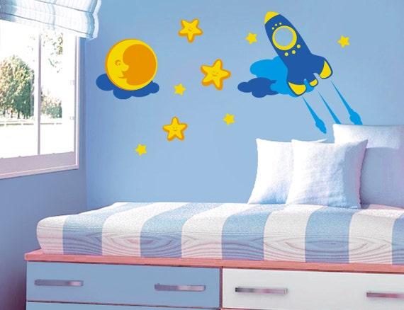 Items similar to rocket rocketship outer space kids for Outer space vinyl wall decals