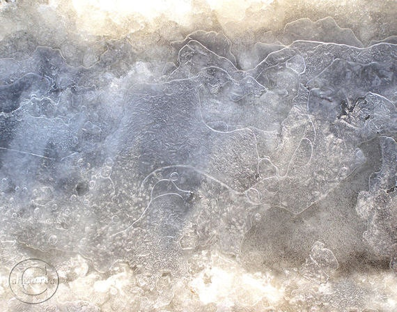 """Ice Photography, 11"""" X 14"""" Print. Blue Winter Ice Scene, Frozen and Frosty"""