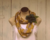 Organic Cotton Circle Scarf With Removable Blue Flower Pin