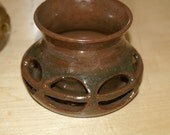 Double walled Candle Holders in Nutmeg and Dark Brown