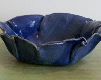Cobalt Blue Leaf Inspired Bowl