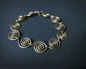 Spiral Link Bracelet Wire Wrapped Brass