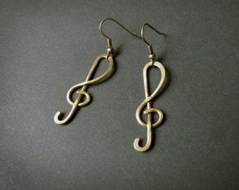ON SALE Treble Clef Wire Wrapped Brass Earrings