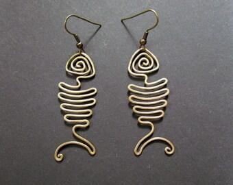 Fishbone, Wire Wrapped Brass Earrings