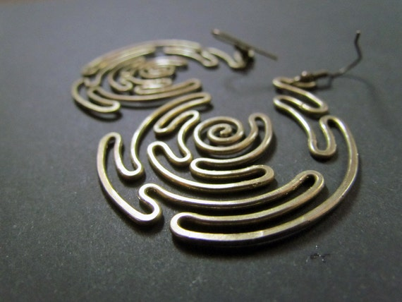 Spiral Labyrinth, Wire Wrapped Brass Earrings