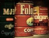 Fine Art Photo Print--Retro Vintage Folgers Coffee Cans--Fine Art Kitchen Photography 8x11