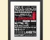 Typographic Print--London England Neighborhoods--Typography Art 8x12