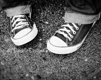 Shoe Photo Chuck Taylor Converse Black and White--Fine Art Photography 8x12
