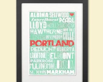 Typographic Print Portland Oregon Neighborhoods Mint Green Home Decor