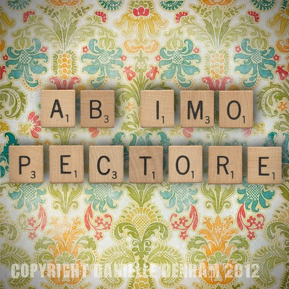 Fine Art Photo Print--Scrabble Tiles and Colorful Damask--Latin Quote--Fine Art Lomography 8x8