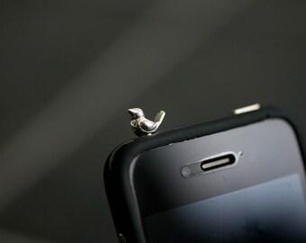 Sterling Silver Phone Charm - Little bird headphone jack plug