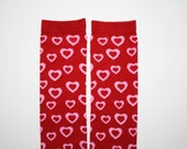 Valentines Day, Red w/ Pink Hearts, Infant Newborn or Toddler Leg Warmers Leggings
