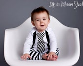 Black and White Striped Tie Suspenders Applique on White Onesie or Tshirt Long or Short Sleeve Pick Your Leg Warmers Great for Pictures