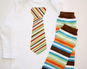Orange Brown Blue Striped Tie Bowtie on White Onesie or Tshirt Long or Short Sleeve and Leggings Leg Warmers Great for Pictures