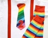 Circus Clown Rainbow Brite Tie Suspenders 1 2 3 4 5 Birthday Applique Onesie or Tshirt Long or Short Sleeve and Leg Warmers