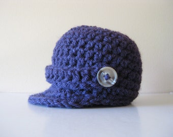 Crochet Baby Hat Newsboy Newsie visor brim purple photo prop brim visor button