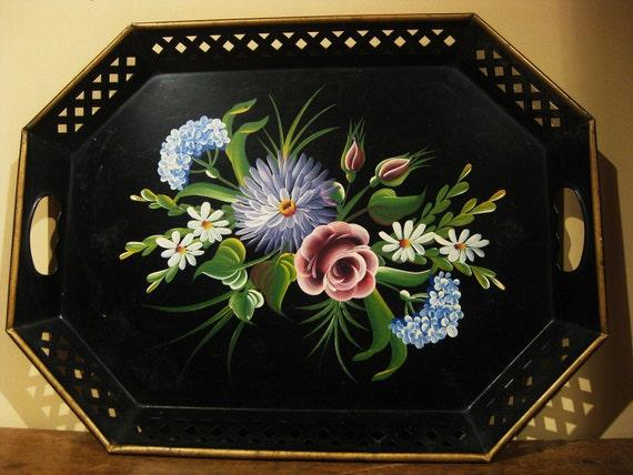 Toile Painted Metal Serving Tray Black Floral Vintage