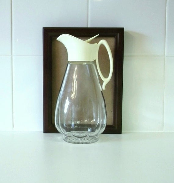 Vintage Syrup Pitcher Glass Bottle Cream Colored By