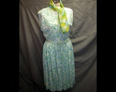 Vtg Nylon Polka Dot Pleated Designer Dress 30 in W
