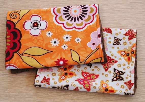 Butterfly Baby Girl Burp Cloths - Set of 2 - Minky Backed