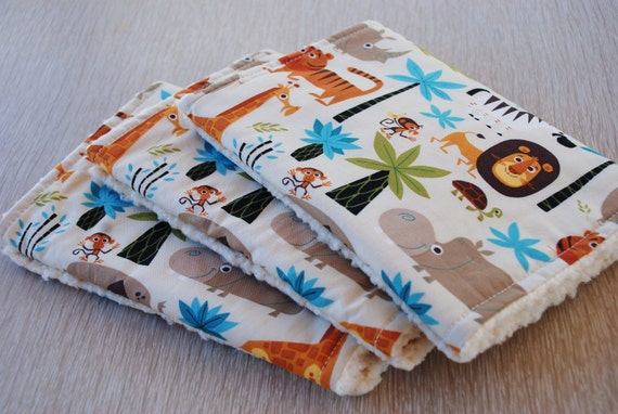 Reserved Listing - Jungle Animals Safari Baby Boy Burp Cloths - Set of 3 - Fleece Backed