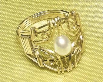 Filigree Pearl Ring