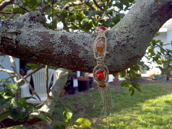 Shades of orange hemp bracelet/anket